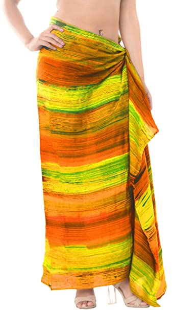 "ecbed57822ab65 LA LEELA Rayon Bathing Suit Cover Up Swim Sarong Tie Dye 78""X39""  Green_5257"