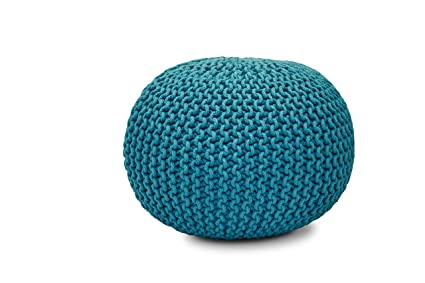 Amazon SL Home Fashions Inc Psp40 Hand Knitted Round Magnificent Turquoise Knitted Pouf