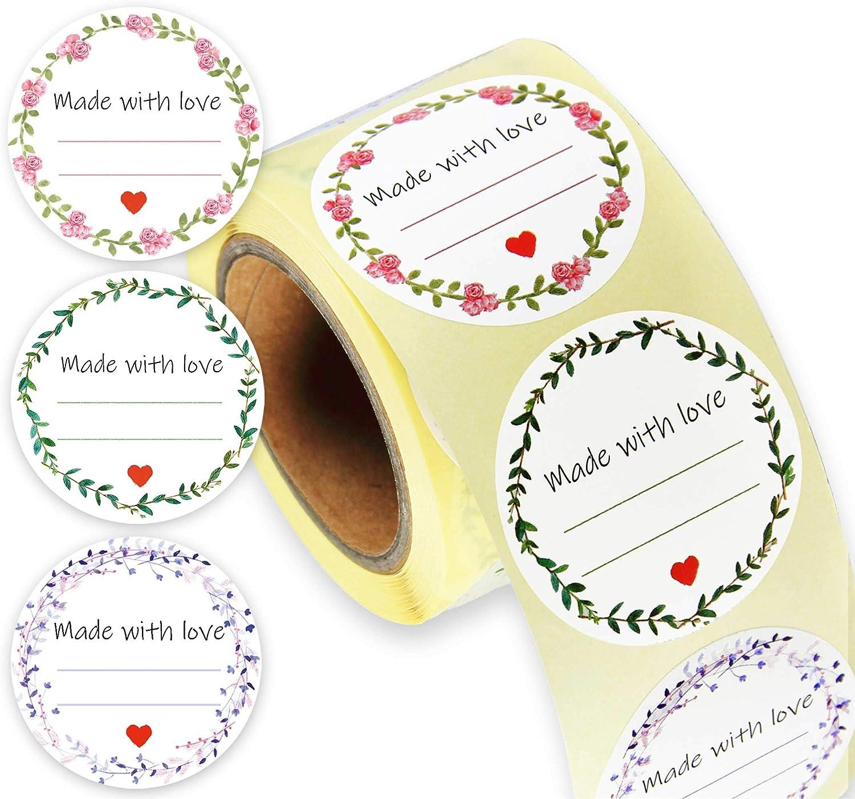 Geschenk Anh/änger mit Liebe Aufkleber Label Papier Etiketten Rund Selbstklebend Geschenkaufkleber Geschenksticker f/ür Backen Geschenkt/üten Hochzeit Thanksgiving Valentinstag 500 PACK