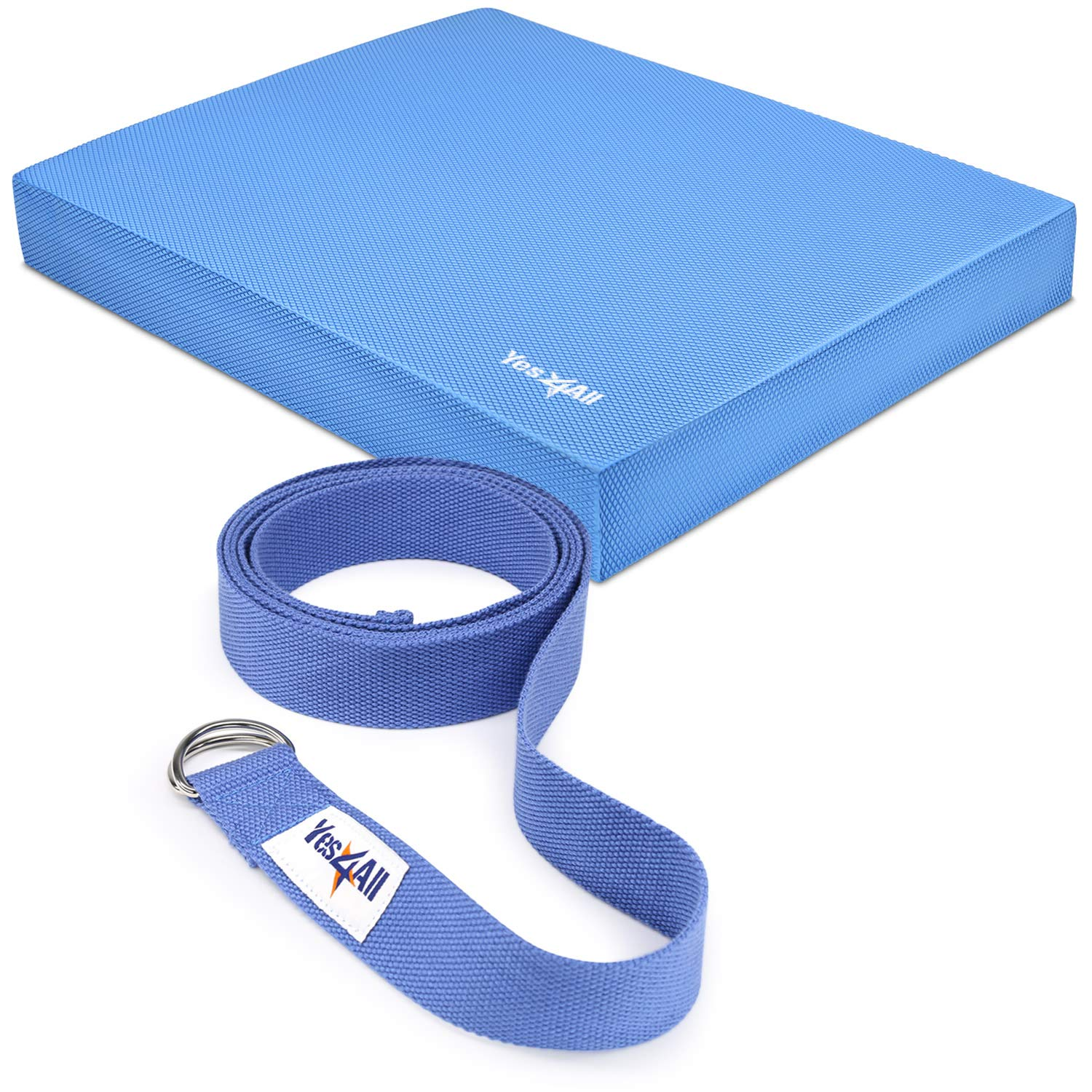 Yes4All Balance Pad Large - Exercise Foam Cushion (Blue) and Yoga Straps (8 Feet) by Yes4All
