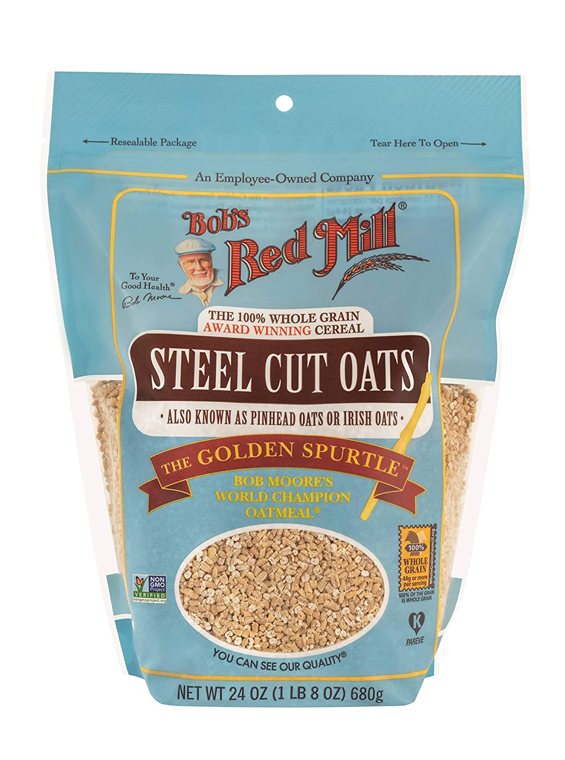 Bob's Red Mill (Resealable) Steel Cut Oats, 24-ounce (Pack of 4)