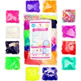 4800 Band MEGA Rainbow Braid Loom Refill Set - US Lab Tested Free of Toxins - 24 Colors, 35 Charms & 500 Clips - Brightest Colors Including Glitter, Glow in the Dark & Metallic - Limited Edition