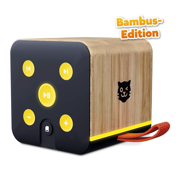 Tigerbox Enceinte Bluetooth pour Enfant avec boîtier en Bambou et Fente pour Carte SD Noir