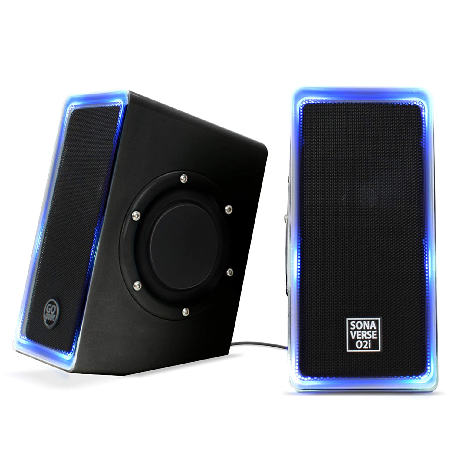 GOgroove Desktop Speakers for Laptop Computer – SonaVERSE O2i Gaming Computer Speakers USB Powered with AUX Input, Blue LED Lights, Dual 2.5 Passive Bass Woofers, 14W Peak Power Black with LEDs
