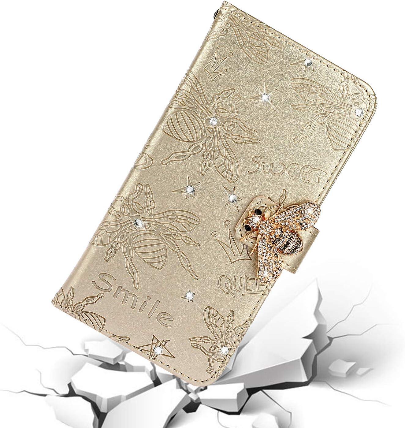 Homikon PU Leder H/ülle Retro Sch/ön Biene Muster Schutzh/ülle Bling Gl/änzend Glitzer Diamant Handyh/ülle f/ür M/ädchen Brieftasche Ledertasche Etui Flip Case Kompatibel mit Samsung Galaxy A20e Gold