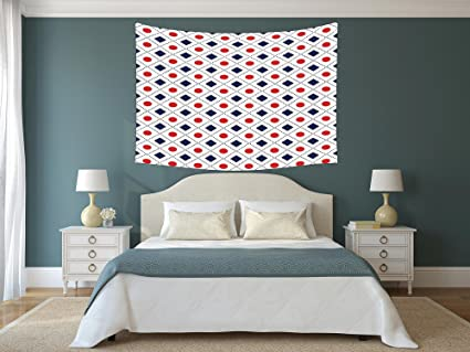 Polyester Tapestry Wall Hanging,Americana Decor,Big Red Dots Squares And  Dashed Cross Lines