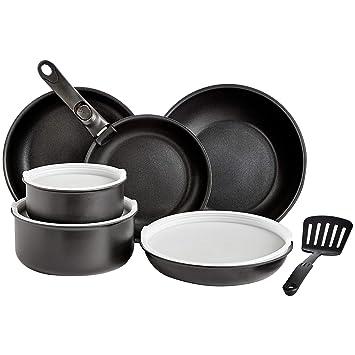 AmazonBasics - Juego de utensilios de cocina de 11 piezas con tapas, mango desmontable y espátula: Amazon.es: Hogar
