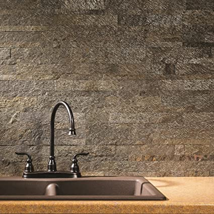 Aspect Peel And Stick Stone Overlay Kitchen Backsplash   Mossy Quartz  (5.9u0026quot; X 23.6u0026quot