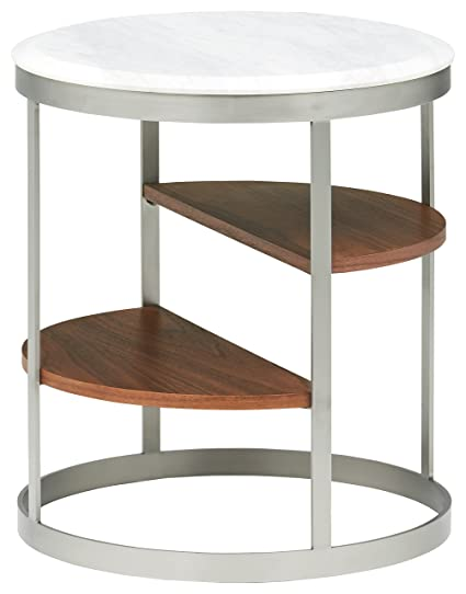 Rivet Round Three Shelf White Marble And Stainless Steel Side Table