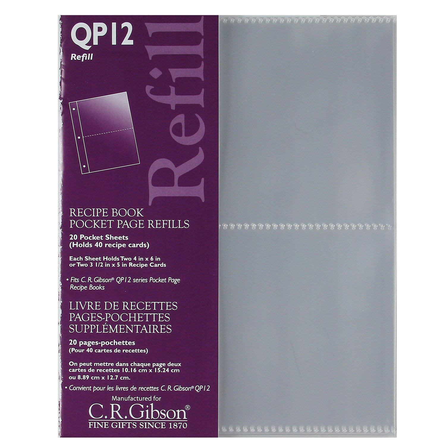 CR Gibson QP-12 Small Recipe Book Pocket Page Refill 20 sheets C.R. Gibson BHBS0519S4982
