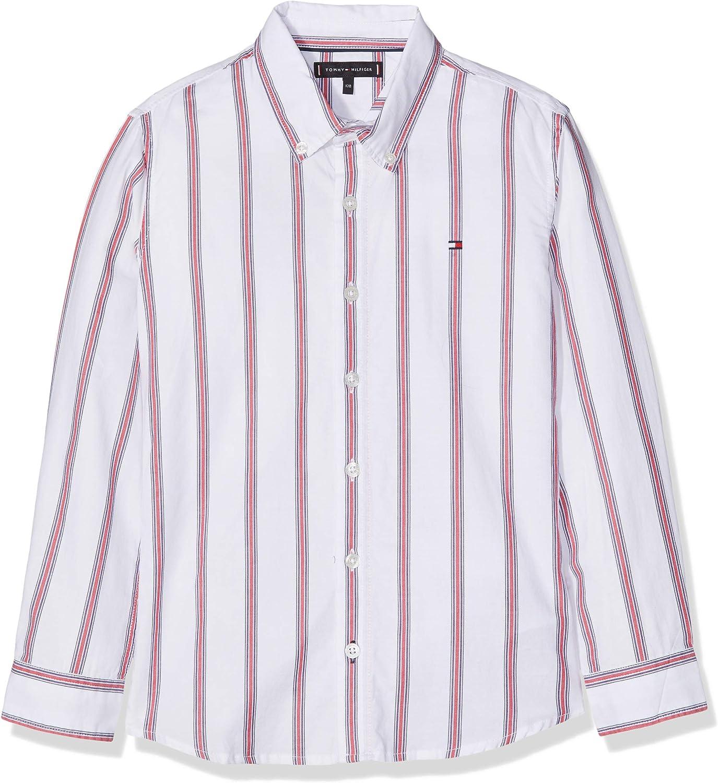Tommy Hilfiger Vertical Stripe Shirt L/s Camisa Manga Larga, Blanco (Bright White/Multi 123), 128 para Niños: Amazon.es: Ropa y accesorios