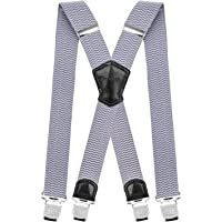 Mens Braces Pejoye Adjustable Back Y Style Holdup Suspenders for Men with 6 Strong Metal Clips 4cm Wide Heavy Duty Retro Elastic Pant Suspenders One Size Fits All