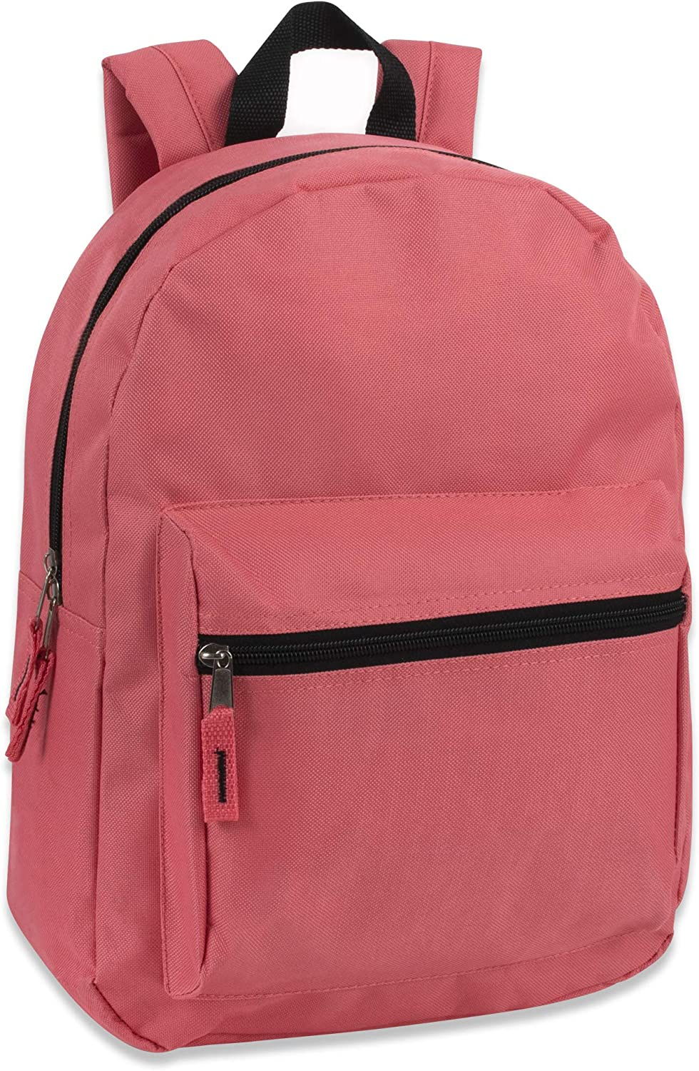 12 Color Assortment 15 Inch Solid Backpacks For Kids With Padded Straps Wholesale Bulk Case Pack Of 24