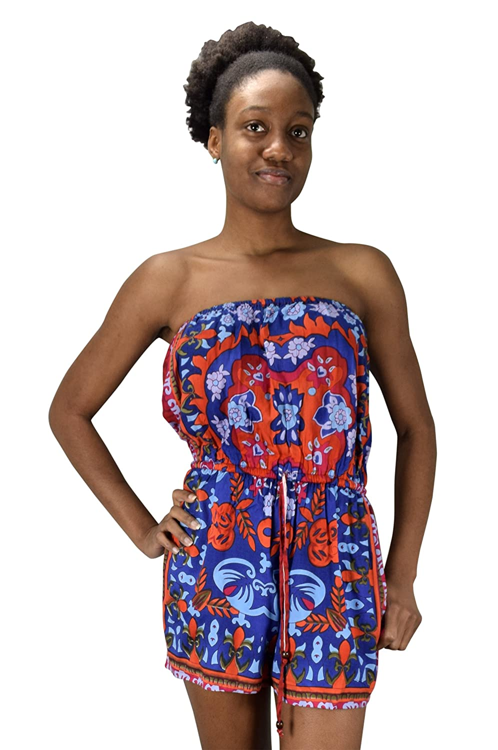 Peach Couture Bohemian Floral Print Drawstring Waist Strapless Rompers