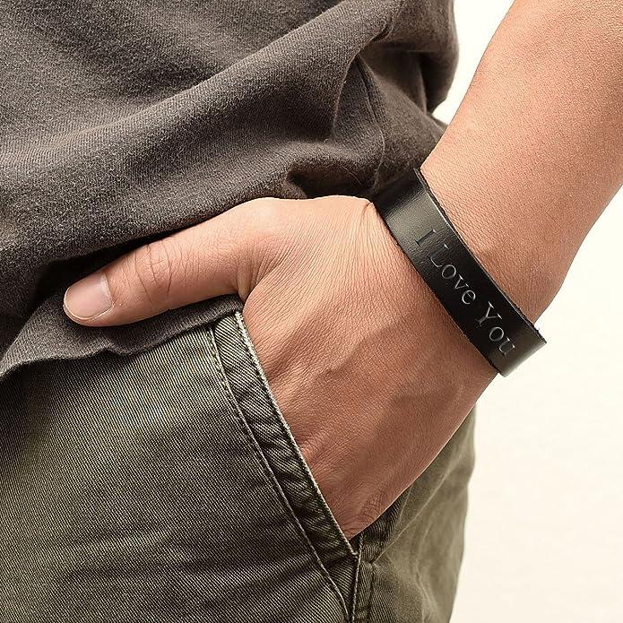 Jovivi Bracelet Homme Cuir V/éritable Noir Multi Tress/é Manche Acier Inoxydable Gravure Personnalis/é Fermeture Magn/étique Super id/ée Cadeau