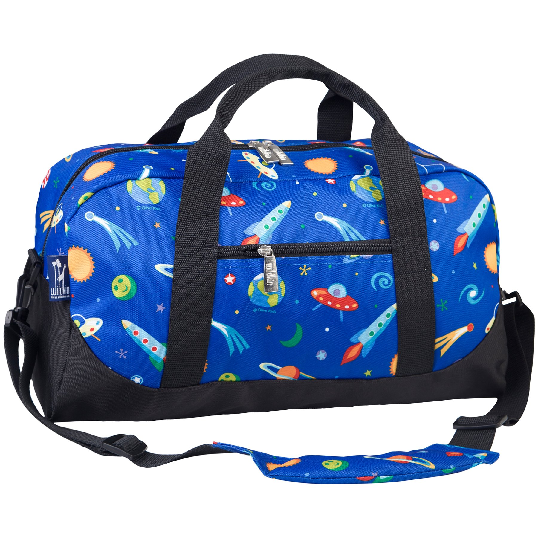 Wildkin Overnighter Duffel Bag, Features Moisture-Resistant Lining and Padded Shoulder Strap, Perfect for Sleepovers, Sports Practice, and Travel, Olive Kids Designs – Out of this World by Wildkin (Image #2)