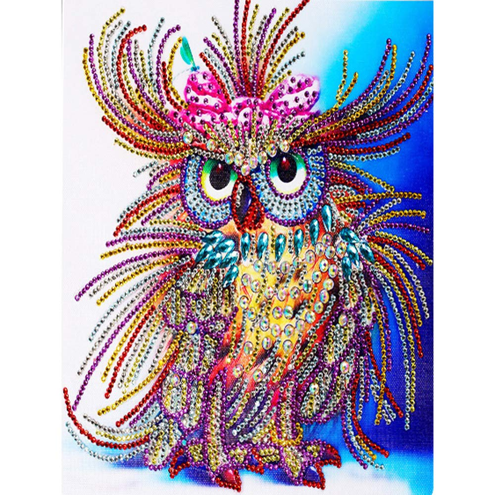 Birdfly Partial Drill Cross Stitch Kits 5D DIY Crystal Diamond Unique Owl Painting Kits for Adults Children