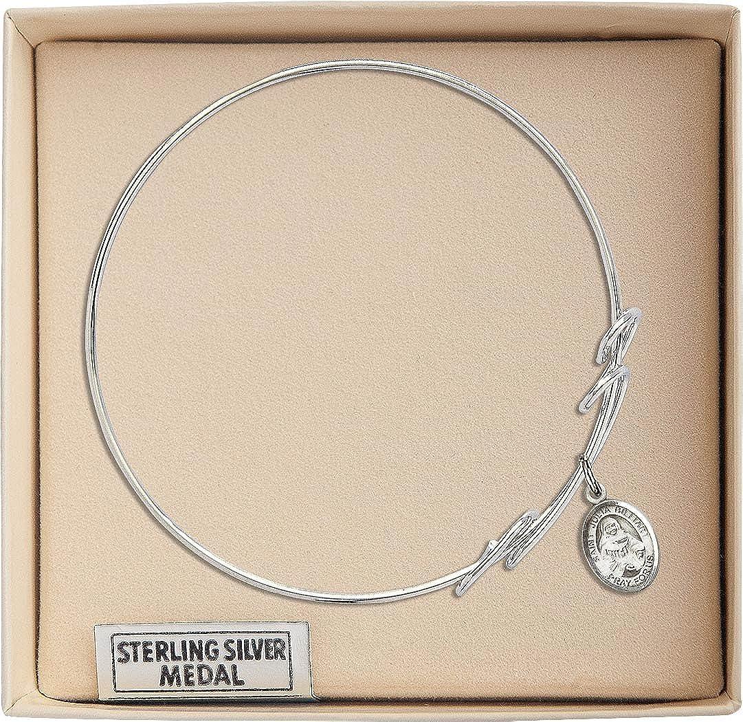 Julia Billiart in Sterling Silver Bonyak Jewelry Round Double Loop Bangle Bracelet w//St