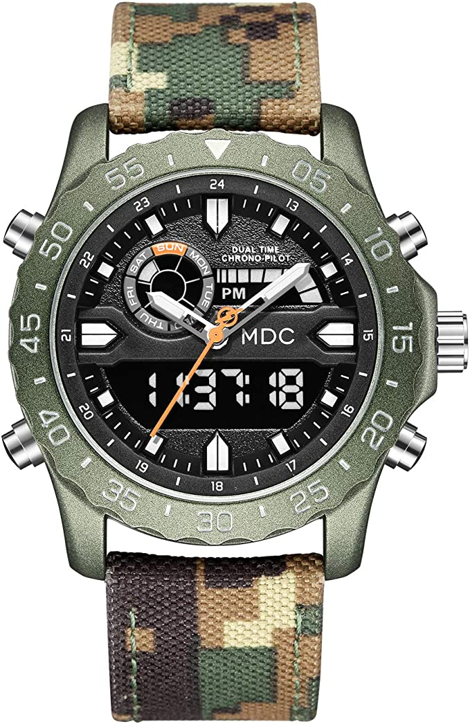 Infantry Big Face Military Tactical Watch for Men, Mens Outdoor Sport Wrist Watch, Large Analog Digital Watch - Dual Display Japanese Movement, Heavy Duty Stainless Steel Case, 3ATM Water Resistant, Quartz watch movement.