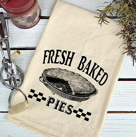 Farmhouse Natural harina saco Fresh Baked pies país toalla de cocina