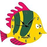 Hoopoe Decor Cute Colourful Fish Trendy Kids Wall Clock