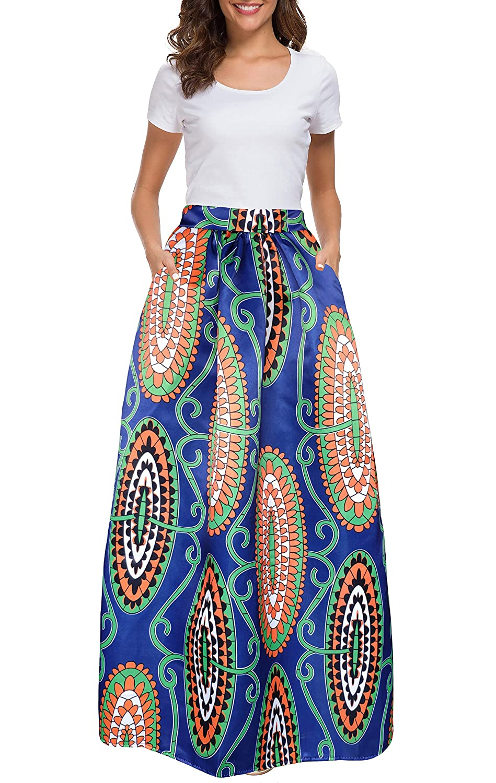 9e7ebc7505 Amazon.com: Afibi Women African Printed Casual Maxi Skirt Flared Skirt  Multisize A Line Skirt S-3XL: Clothing