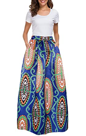 b3e3942e94 Amazon.com: Afibi Women African Printed Casual Maxi Skirt Flared Skirt  Multisize A Line Skirt S-3XL: Clothing