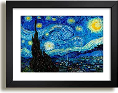 Quadro Noite Estrelada Van Gogh 45x35cm Pintores Famosos