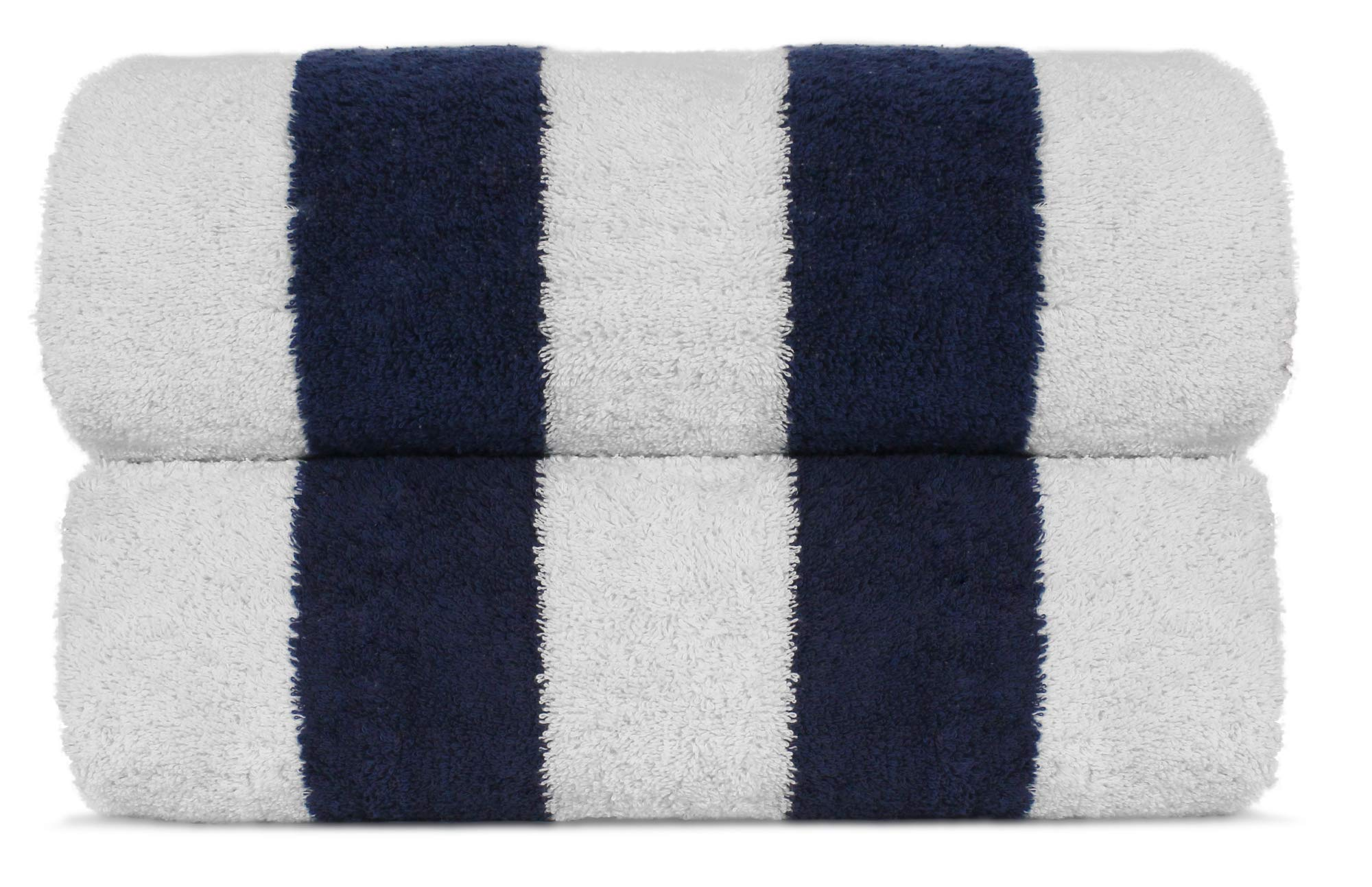 Premium Quality Extra Large Hotel and Spa 2-Piece Beach Towels, Pool Towels with Cabana Stripe, Eco-Friendly, Turkish Cotton (Navy, 35x65 inches)