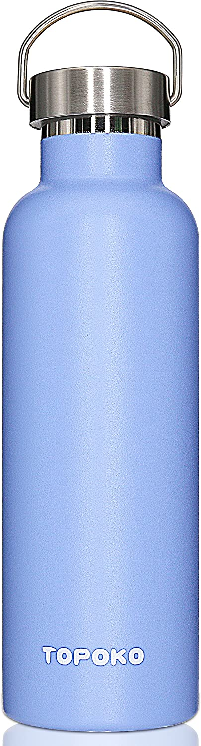 TOPOKO 25 oz Stainless Steel Vacuum Insulated Water Bottle, Keeps Drink Cold up to 24 Hours & Hot up to 12 Hours Leak Proof and Sweat Proof Large Capacity Sports Bottle Wide Mouth Metal Lid