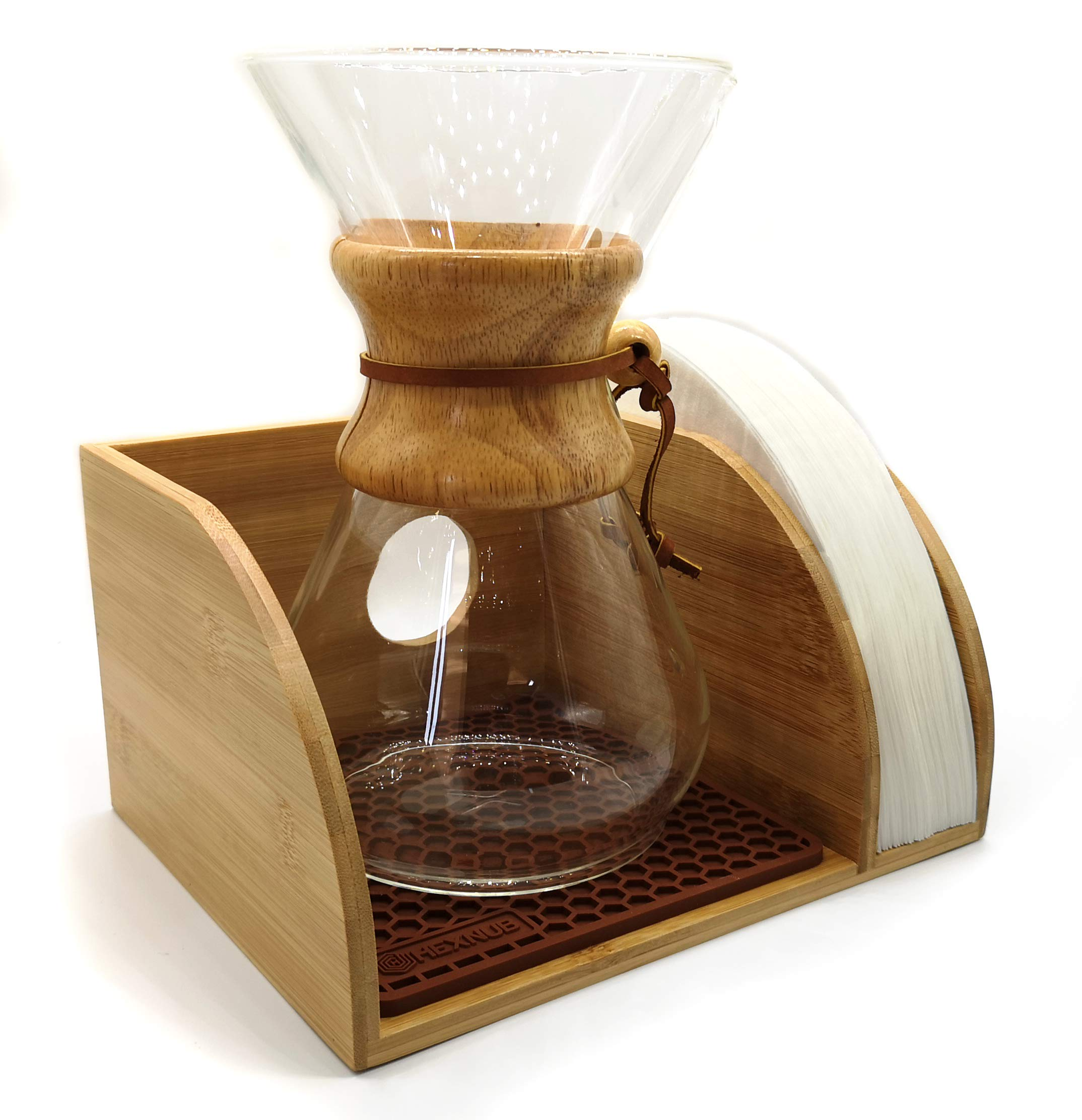 Hexnub Coffee Organizer Stand for Chemex, Bodum and Coffee Gator filtered Coffee Makers Premium Bamboo Caddy Station Holds Pour over Coffee Maker and Filters with Brown Dripper Mat by HEXNUB