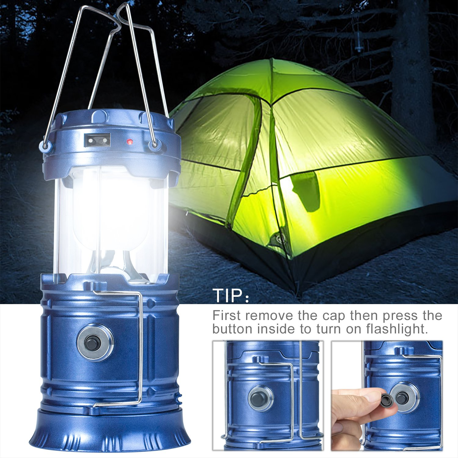 YIEASY Solar Camping Lanterns, 2 Pack Led Rechargeable Lantern Flashlight for Hurricane, Power Outages, Emergency, Collapsible and Portable (Blue) by YIEASY (Image #5)