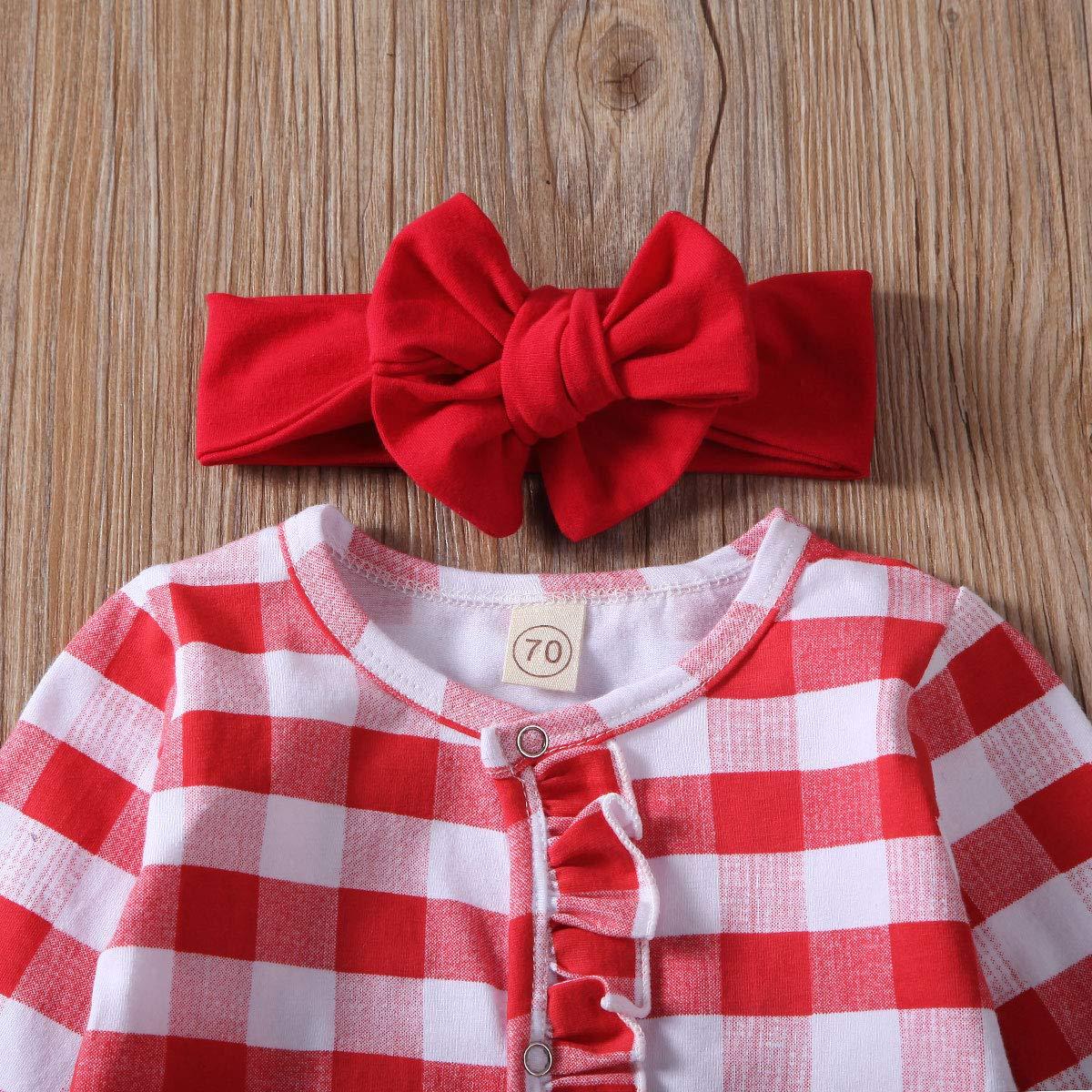 Fiomva Strampler f/ür Neugeborene mit weihnachtlichem Karomuster lang/ärmelig Einteiler mit R/üschen und Stirnband