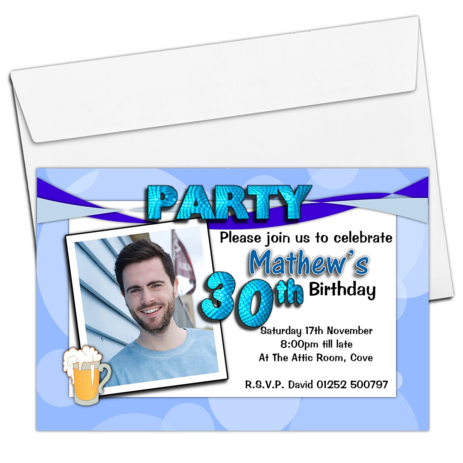 10 Personalised Mens Beer 18th 21st 30th 40th 50th 60th Adult Birthday Party PHOTO Invitations N192 - ANY AGE The Personalised Party Co.