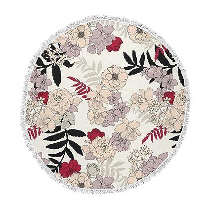 Kess InHouse Victoria Krupp Washed Flowers Pink White Digital Round Beach Towel Blanket