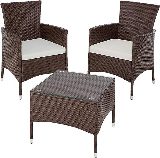TecTake Set de jardín de poli ratán | 2 sillones y pequeña mesa con placa de cristal | Marco resistente de acero - disponible en diferentes colores - (Mixed-marrón | No. 402863): Amazon.es: Jardín