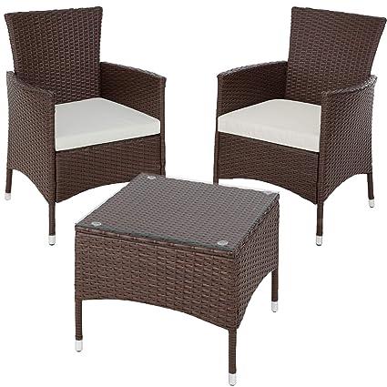 TecTake Résine tressée set de jardin | 2 chaises et petite table à plateau  en verre | Châssis robuste en acier - diverses couleurs au choix - ...