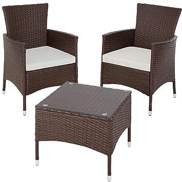 TecTake Set de jardín de poli ratán | 2 sillones y pequeña mesa con placa de cristal | Marco resistente de acero - disponible en diferentes colores ...