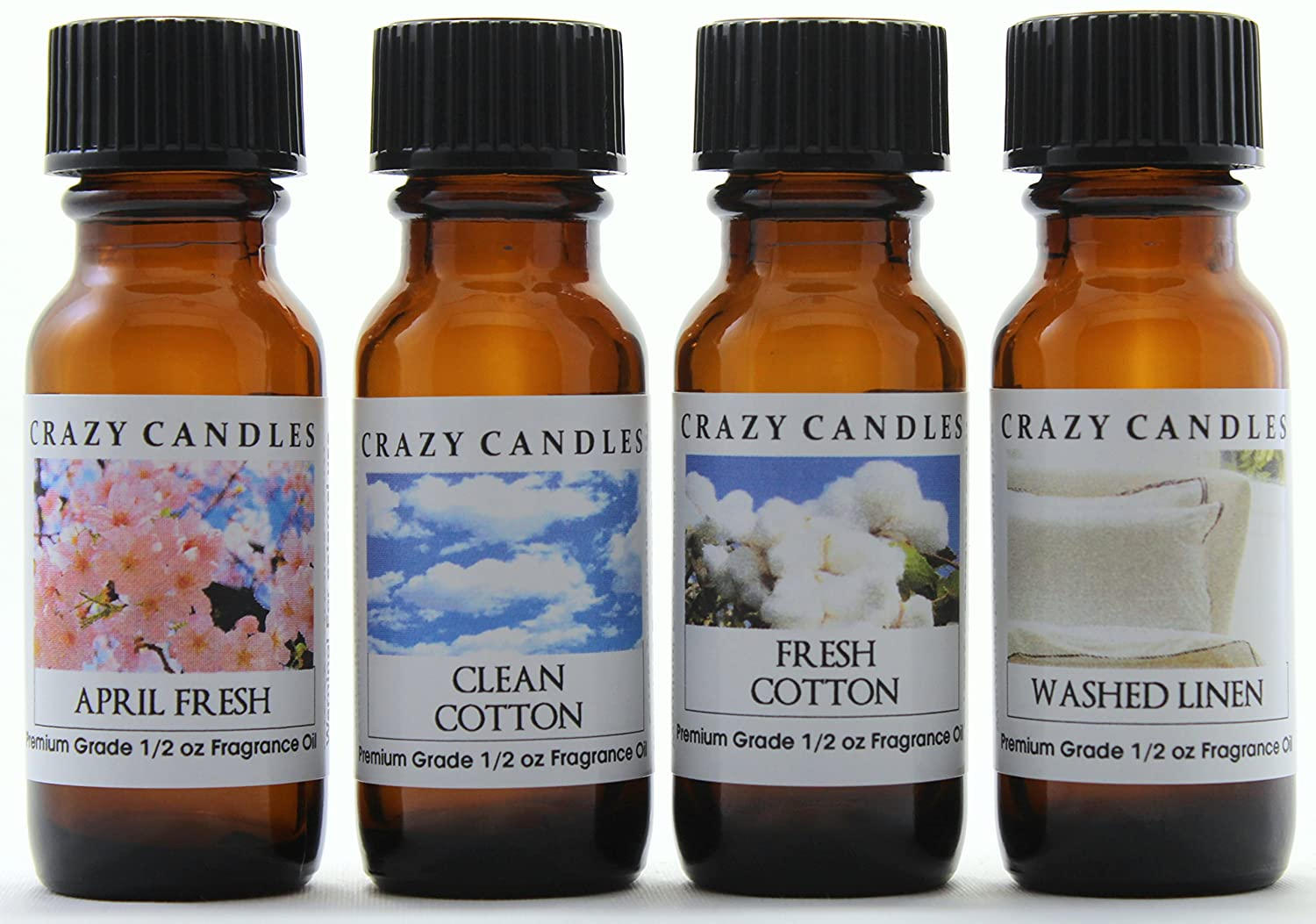 Crazy Candles 4 Bottle Set (Made in USA) 1 April Fresh, 1 Clean Cotton, 1 Fresh Cotton, 1 Washed Linen 1/2 Fl Oz Each (15ml) Premium Grade Scented Fragrance Oils