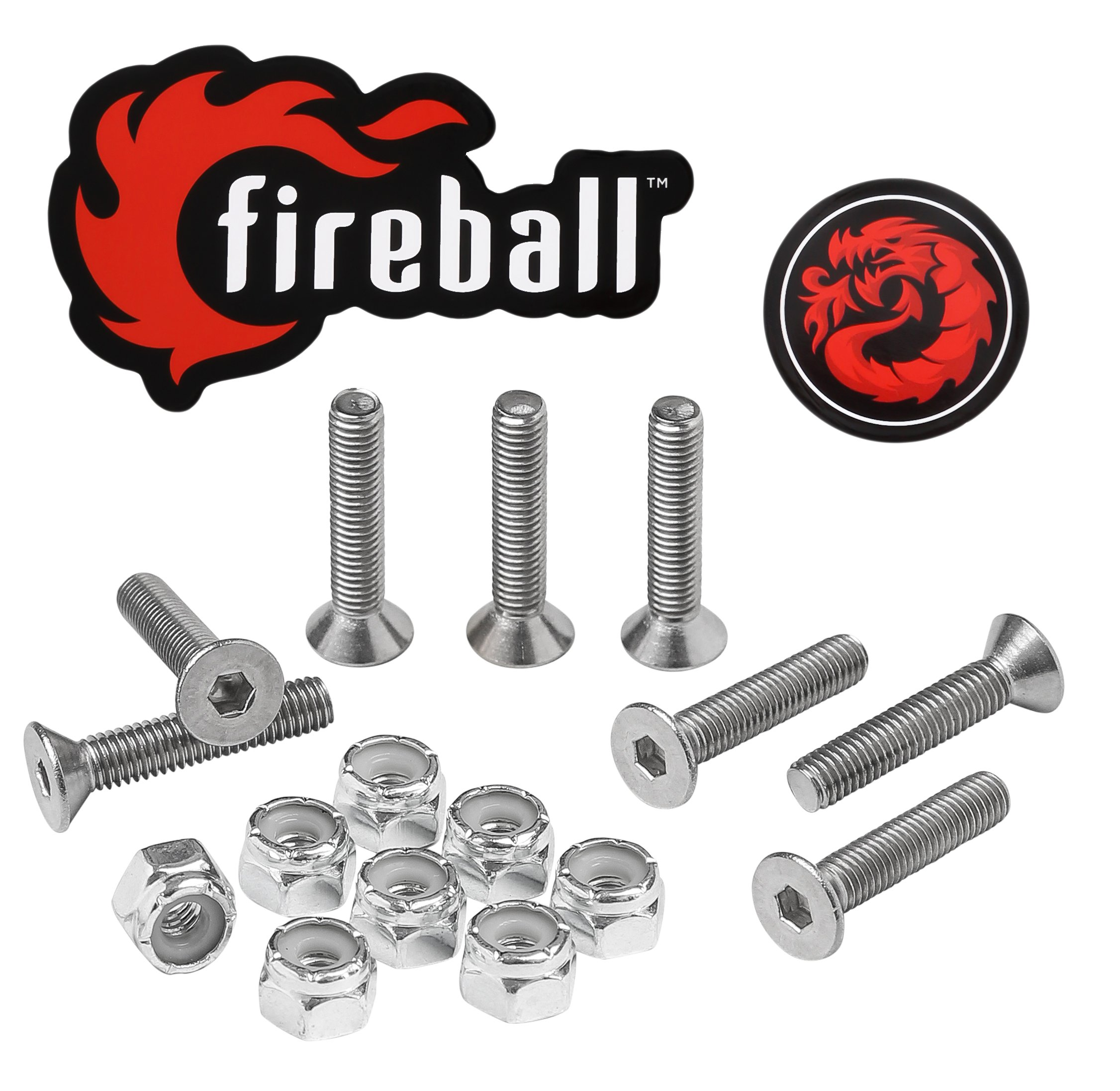 Fireball Dragon Stainless Steel Skateboard Hardware Set (Flat Allen, 1.0'')