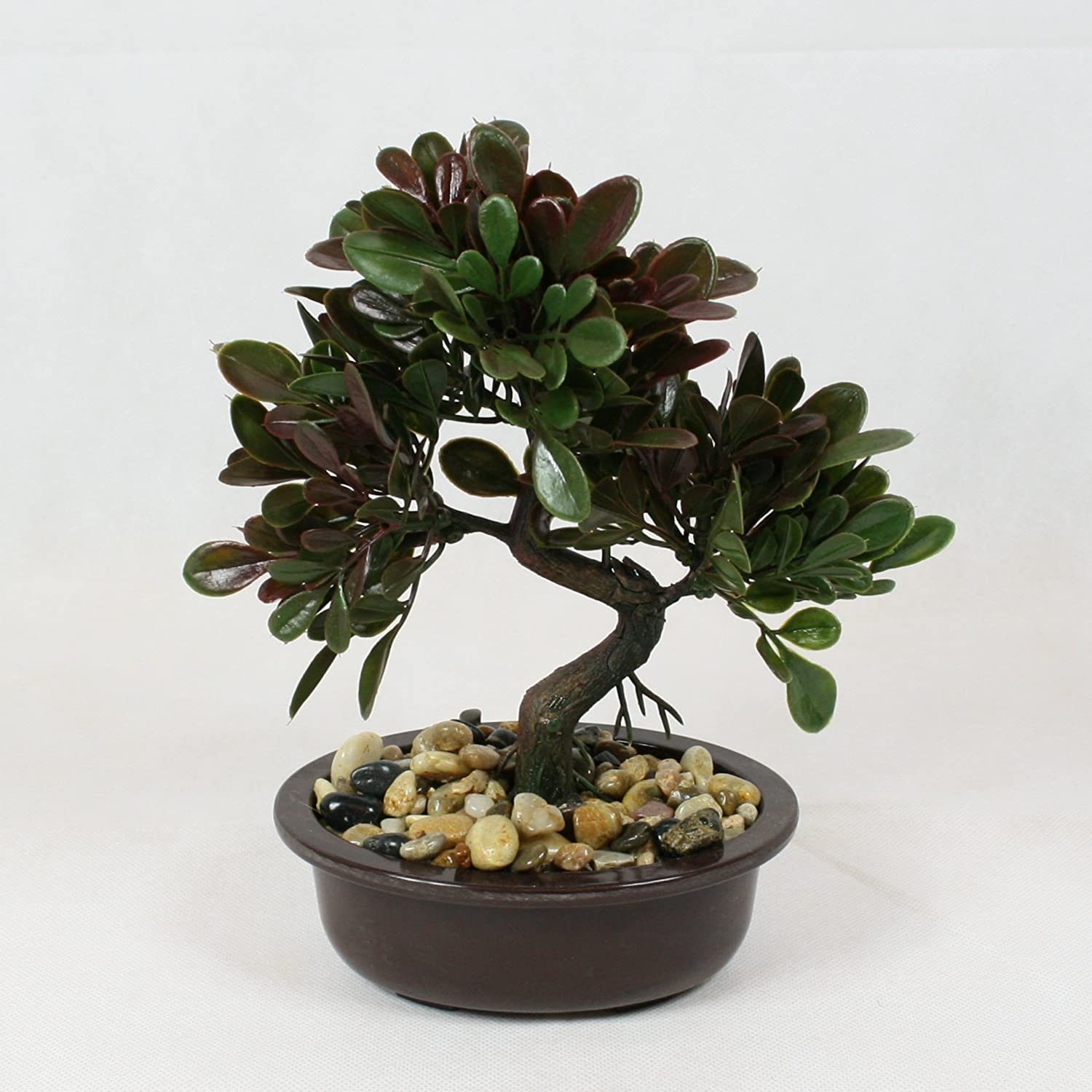 Bonsai Tree in Oval Pot, Artificial Plant Decoration for Office and Home 25 cm - Green & Brown TopGifts