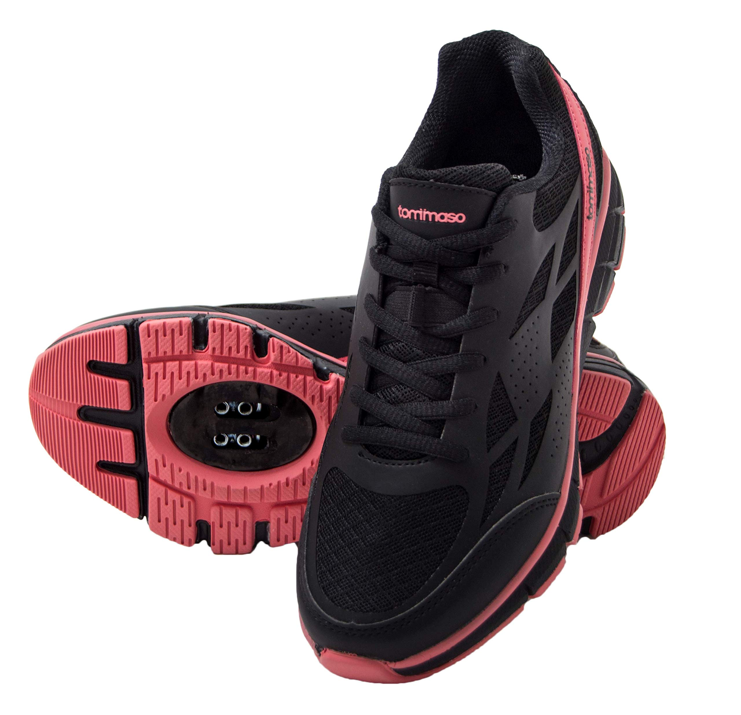 tommaso Venezia Women's Spin Class, Urban Cycling, Road Biking Shoes - 39 Black/Rose by tommaso