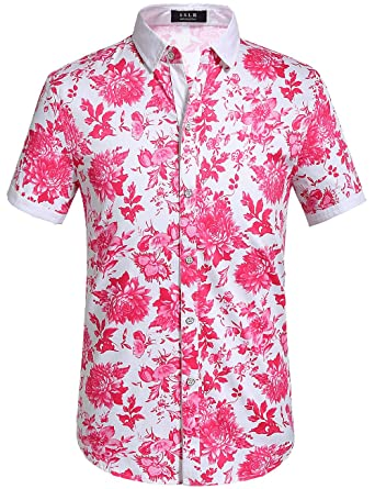 7e69de59 Image Unavailable. Image not available for. Color: SSLR Men's Floral Button  Down Short Sleeve Hawaiian Tropical Shirt (Small, Fuchsia)