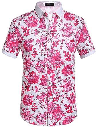 dd1fe6bb7b2a SSLR Men s Floral Button Down Short Sleeve Hawaiian Tropical Shirt (Small