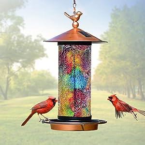 XDW-GIFTS 2020 Newest Solar Wild Bird Feeder Hanging for Garden Yard Outside Decoration, Waterproof Mosaic Lantern Design Feeder for Birds, Solar Bird Feeder as Gift Ideas for Bird Lovers(15 Inches)