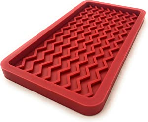 Silicone Kitchen Sink Organizer Tray and Countertop Protector, 10 inches x 5.25 inches, 10.4 ounces (RED)