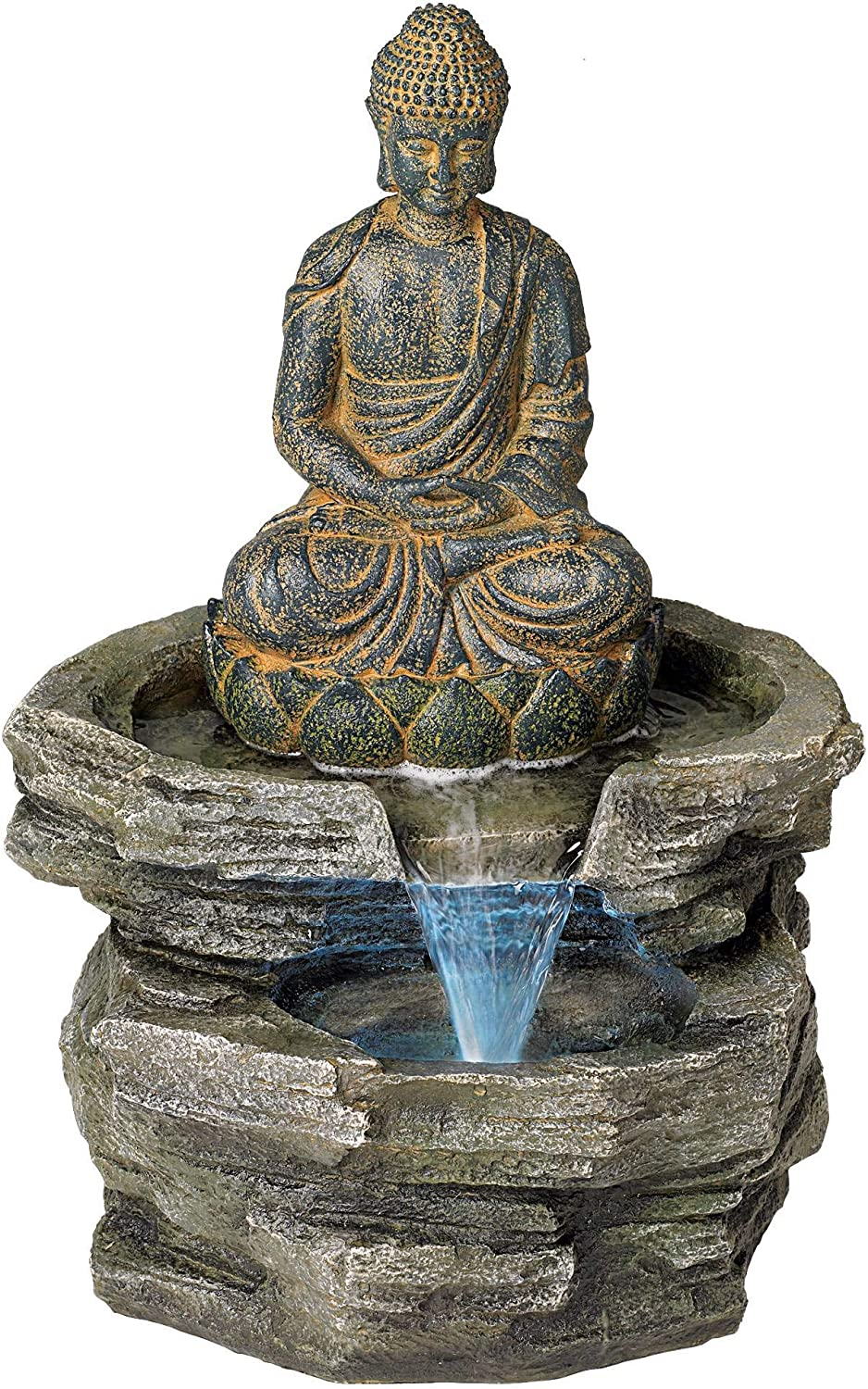 "Sitting Buddha Rustic Zen Outdoor Floor Water Fountain with Light LED 21"" High for Yard Garden Patio Deck Home Relaxation - John Timberland"