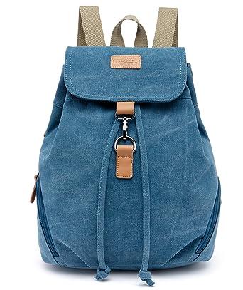 e238bf087f Honeystore Women s Fashion Canvas School Rucksack Hiking Backpacks Small  Bookbag Style1 Blue