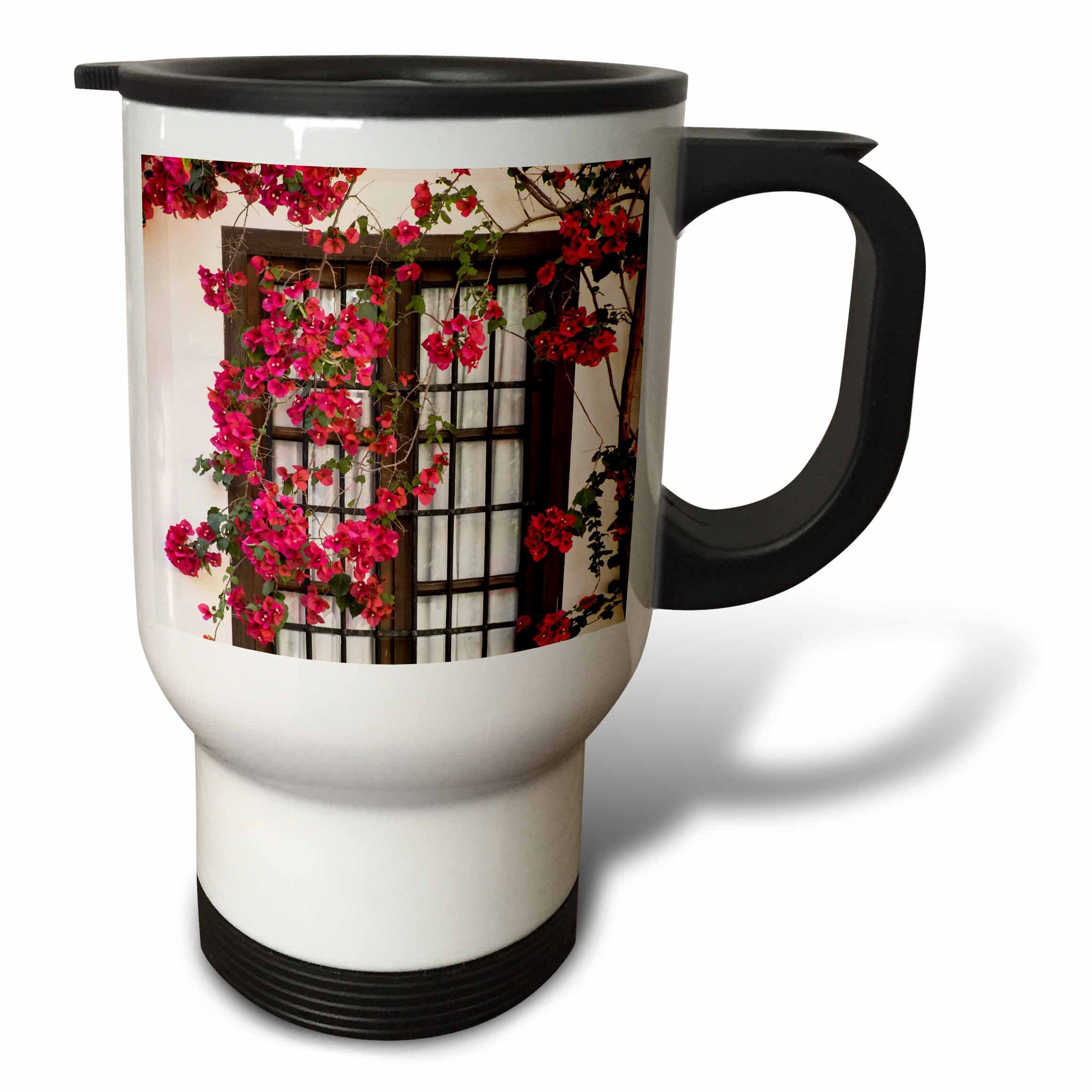 3dRose Danita Delimont - Flowers - Spain, Andalusia. Cordoba. Red bougainvillea and house window. - 14oz Stainless Steel Travel Mug (tm_277893_1)