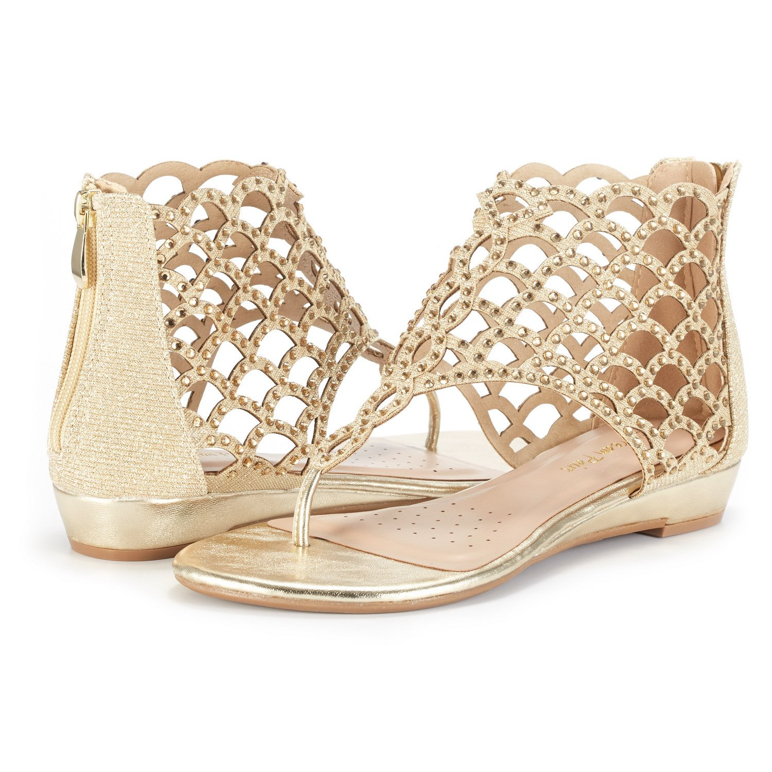 Women's Rhinestone Jewel Fish Scale Pattern Gold Ankle-High Flat Sandals - DeluxeAdultCostumes.com